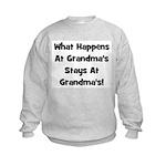 What Happens At Grandmas Blac Kids Sweatshirt