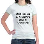 What Happens At Grandmas Blac Jr. Ringer T-Shirt