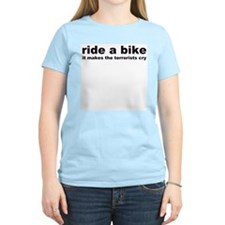 Ride a Bike Terrorist Women's Pink T-Shirt