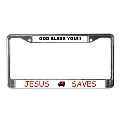 God Bless / Jesus Saves License Plate Frame