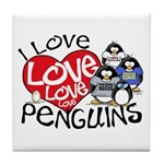 I Love Love More Penguins Tile Coaster