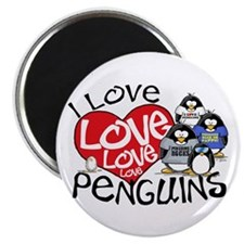 I Love Love More Penguins Magnet