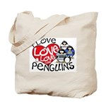 I Love Love More Penguins Tote Bag