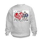 I Love Love More Penguins Kids Sweatshirt