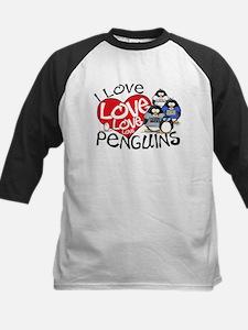 I Love Love More Penguins Kids Baseball Jersey