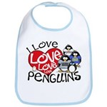 I Love Love More Penguins Bib
