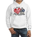 I Love Love More Penguins Hooded Sweatshirt
