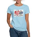 I Love Love More Penguins Women's Pink T-Shirt