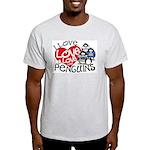 I Love Love More Penguins Ash Grey T-Shirt