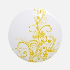 yellow floral swirl 1 Ornament (Round)