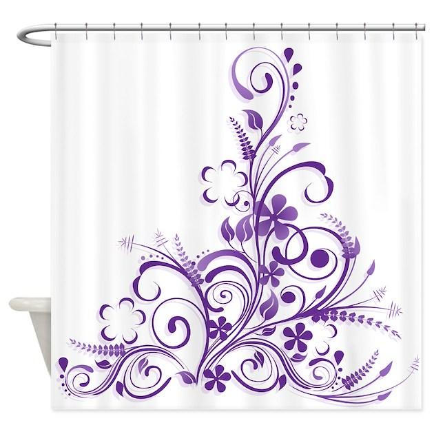 purple floral swirl 1 shower curtain by littlefunshop. Black Bedroom Furniture Sets. Home Design Ideas