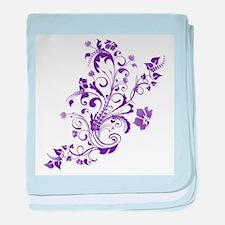 Purple Floral Swirl 2 baby blanket