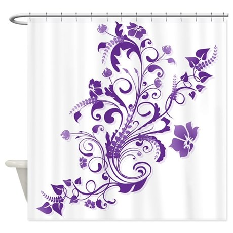purple floral swirl 2 shower curtain by littlefunshop. Black Bedroom Furniture Sets. Home Design Ideas