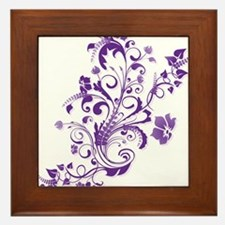 Purple Floral Swirl 2 Framed Tile