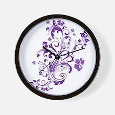 Purple Floral Swirl 2 Wall Clock