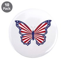"Patriotic Butterfly 3.5"" Button (10 pack)"