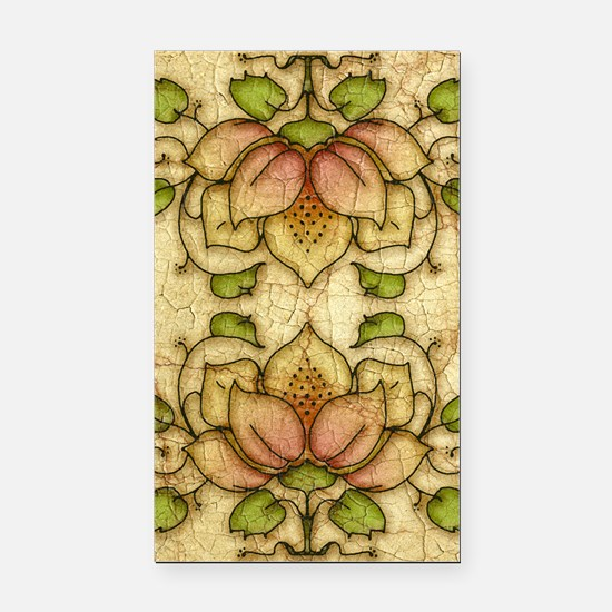 Water Lily Motif Rectangle Car Magnet