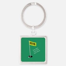 Golf Hole in One Square Keychain