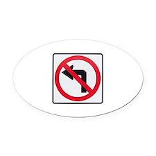 No Left Turn Oval Car Magnet