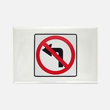 No Left Turn Rectangle Magnet