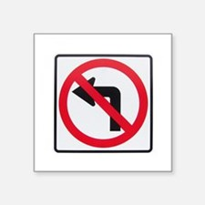 "No Left Turn Square Sticker 3"" x 3"""
