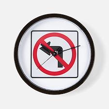 No Left Turn Wall Clock