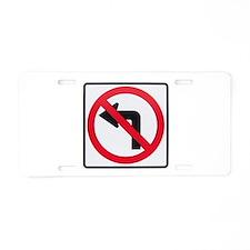 No Left Turn Aluminum License Plate