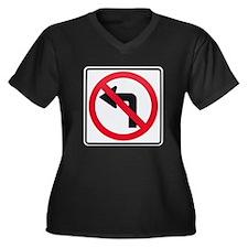 No Left Turn Women's Plus Size V-Neck Dark T-Shirt