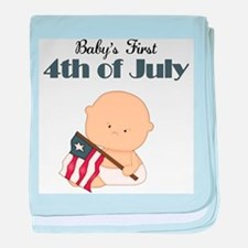 Boy Babys First 4th of July baby blanket