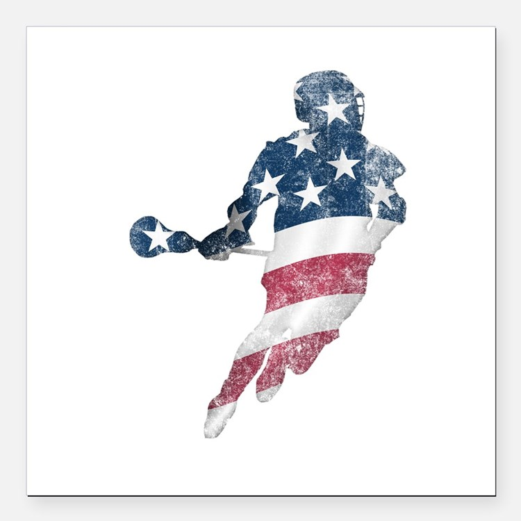 "USA Lacrosse Square Car Magnet 3"" x 3"""