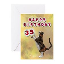 35th birthday with a cat Greeting Cards (Pk of 10)