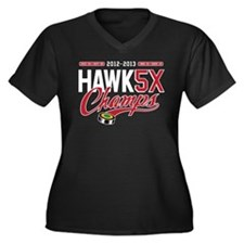 HAWK5X Women's Plus Size V-Neck Dark T-Shirt