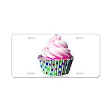 Pink Polka Dot Cupcake Aluminum License Plate