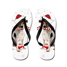 Jack Russell Christmas Winter Holiday Flip Flops