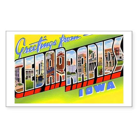 Cedar Rapids Iowa Greetings Rectangle Sticker
