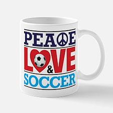 Peace Love and Soccer Mug