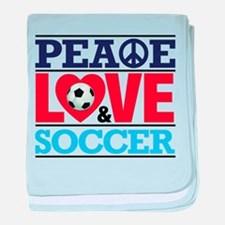 Peace Love and Soccer baby blanket