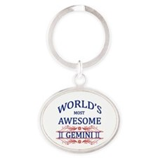 World's Most Awesome Gemini Oval Keychain