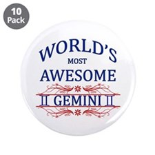 "World's Most Awesome Gemini 3.5"" Button (10 pack)"