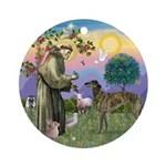 St. Francis & Brindle Greyhound Ornament (Round)