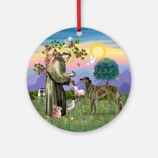 St. Francis & Brindle Greyhound Ornament (Round)