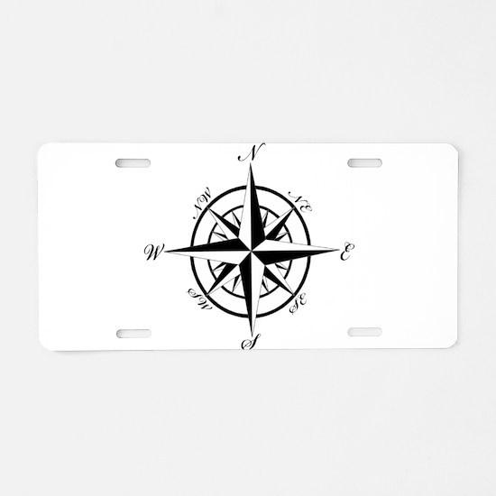 Vintage Compass Aluminum License Plate