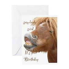 funny horse birthday card Greeting Card