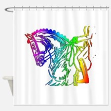 Colorful Dressage Shower Curtain