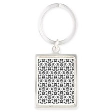 Black & White Damask #24 Portrait Keychain