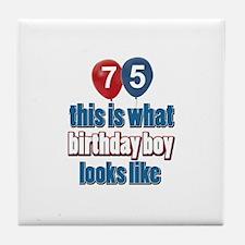 75 year old birthday boy Tile Coaster