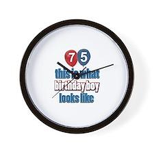 75 year old birthday boy Wall Clock