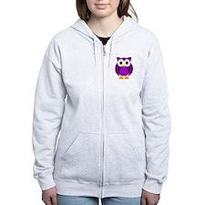 Cute Purple Owl Zip Hoodie