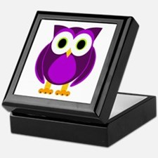 Cute Purple Owl Keepsake Box