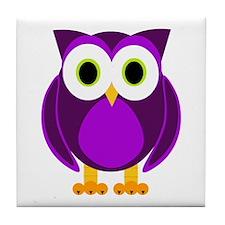 Cute Purple Owl Tile Coaster